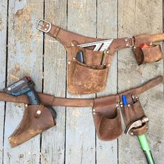 We're having fun breaking in some of our own leather. #toolbelt #leatherwork #handmade