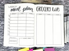 7 Meal Plan Bullet Journal Layouts to Become a Better Meal Planner The bullet journal could be your magical ticket to meal planning success. Use one of these meal plan bullet journal layouts to eliminate dinnertime chaos! Bullet Journal Meal Planning, Bullet Journal Grocery List, Planner Bullet Journal, Bullet Journal Ideas Pages, Bullet Journal Spread, Bullet Journal Layout, My Journal, Bullet Journal Inspiration, Bullet Journals