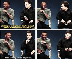 Anthony Mackie and Sebastian Stan - Seb looks so offended in the second pic- SEB'S LIKE THE QUIET SHY ONE THAT RARELY MAKES A PIP BUT WHEN HE DOES IT'S A FUCKING 3RD DEGREE BURN
