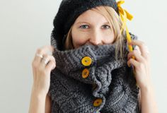 Love the grey with yellow buttons! happy solitude #rain knitwear designs