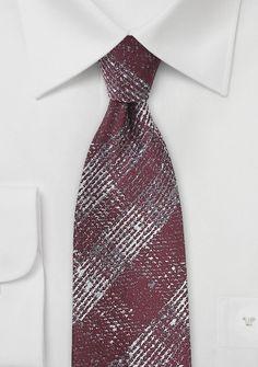 Krawatte Wolle Glencheckmuster dunkelrot