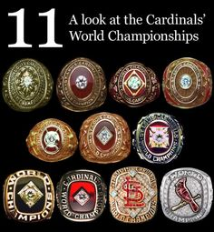 Collection of all 11 of the St. Louis Cardinals World Series rings St Louis Baseball, St Louis Cardinals Baseball, Stl Cardinals, Saint Louis Cardinals, World Series Rings, Muse, Busch Stadium, Nfl, St Louis Cardinals