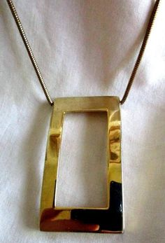 "VINTAGE ESTATE 25"" GOLDTONE MOD ART RECTANGLE PENDANT NECKLACE"