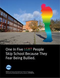 LGBTQ* Statistics We Can No Longer Ignore    Irish school polls find 1 in 5 lbgtq* students skip school because they are bullied(picture above)    It is estimate 160,000 students skip school in the US each day because of bullying