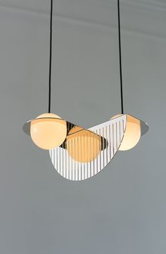 A statement lighting design that encompasses the trends of retro style and metallics