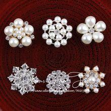 ( 50 unids/lote ) 6 estilos Chic lindo claro Artificial de Metal Crystal Flatback boda hechos a mano de la aleación Rhinestone perla botones(China (Mainland))