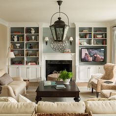 -TOP FAVORITE TV swivels and there is no bulky base, plus I like the paint on back wall of the built-ins and the sconces. Top the cupboards and possibly fireplace with wood stain to warm it up. (see other picture with wood topped cabinets) I would want the hearth built up higher so it is the height and width to put things on or to just perch on it. This looks balanced.. Tv Beside Fireplace Home Design Ideas, Pictures, Remodel and Decor