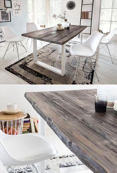 Dieser Esstisch ist die schönste Einladung für große Festessen und gemütliche Abende mit Freunden! Eine Tischplatte aus massiver Akazie mit echter Baumkante, dazu als schöner Kontrast weiß lackierte Metallfüße. Ein Statement und neuer Lieblingsplatz zugleich!