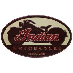 Indian Motorcycle Oval Embossed Tin Sign