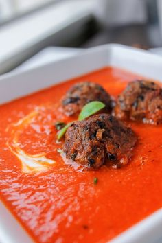 "Red Pepper Soup with Black Bean ""Meat""Balls"