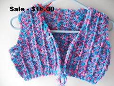 Vest  Bolero  Crochet  Blue and Pink  by ShelleysCrochetOle