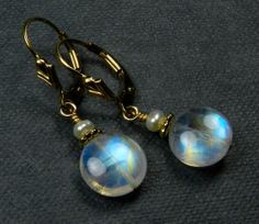 Free USA Shipping Rainbow Moonstone & Pearl 14K by sitkaeclipse, $60.00