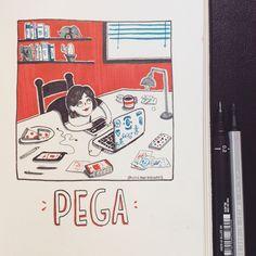 """Inktober Po 2017 no.24   PEGA: Decir """"tengo mucha pega"""" es decir que hay mucho trabajo   Facebook: https:// www.facebook.com/crisgarabatos.mx/   #inktober #inktober2017 #chile #ink #illustration #sketch #sketchbook #ilustración #art #pega #work #trabajo #ilustración"""