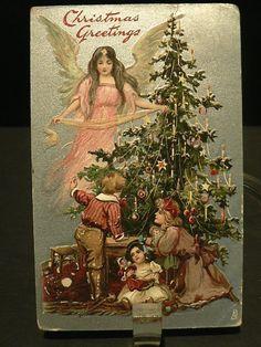 VINTAGE CHRISTMAS POSTCARD VICTORIAN 1910 SILVER ANGEL TREE CHILDREN TOYS