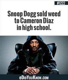 most awesome snoop facts► Snoop Dogg sold weed to Cameron Diaz in high school. The More You Know, Good To Know, Did You Know, My Stomach Hurts, It Hurts, Rapper Delight, Puff And Pass, How To Apologize, Cameron Diaz