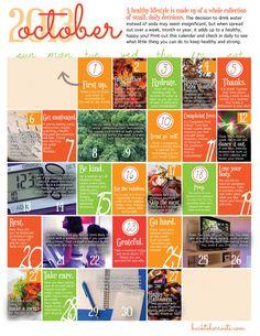wellness calendar: october 2013 (free printable)