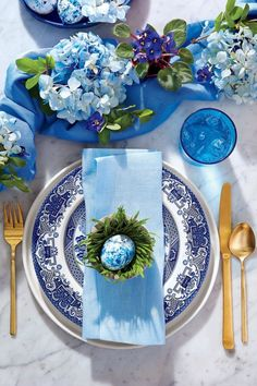 Blue and White Place Setting for Easter