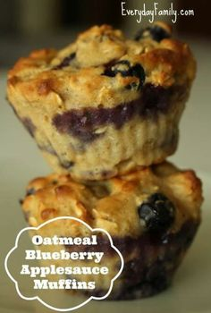 Toddler Recipes. Oatmeal blueberry applesauce muffins