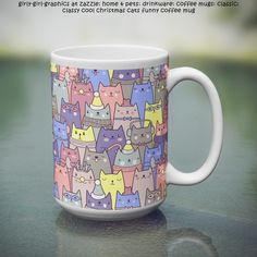 Girly-Girl-Graphics at Zazzle: Classy Cool Christmas Cats Funny Coffee Mug: Modern Classy Cool Cute Elegant Trendy Customizable Colorful Pastel Purple, Pink, Blue, and Gray Funny Christmas Cats Lovers Pattern Coffee Mug makes a uniquely chic and lovely holidays or any day gift for yourself, your friends, and family. #girls #womens #fashion #work #style #christmas #cats #mugs #girlygirlgraphics #zazzle