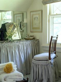 blue ticking is always so fresh!  Love the slipcovers!!!!