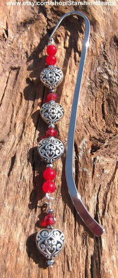 Red Jade Silver Heart Bookmark  Valentines Day by StarshineBeads