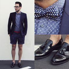 Ben Sherman Shirt, Thrifted Bow Tie, Maison Martin Margiela Blazer, Topman Shorts, Zara Belt, Zara Shoes, Tom Ford Glasses