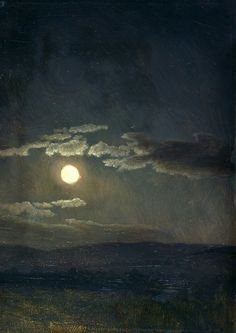 Cloud Study, Moonlight by Albert Bierstadt. Oil on canvas c. 1860