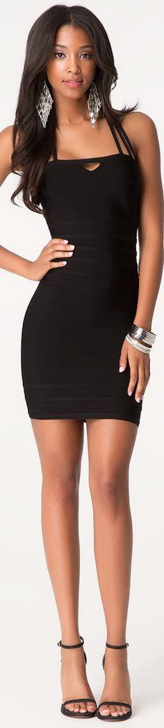 BEBE STRAPPY BANDAGE DRESS BLACK