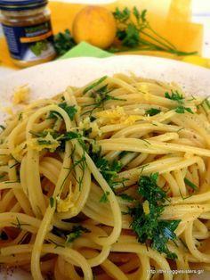 Λεμονάτα σπαγγέτι με μυρωδικά και μουστάρδα Mustard, Spaghetti, Lemon, Pasta, Cooking, Ethnic Recipes, Food, Kitchen, Essen