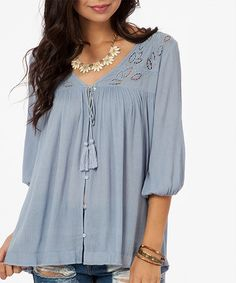 Another great find on #zulily! Blue Lace-Panel Button-Up Top #zulilyfinds