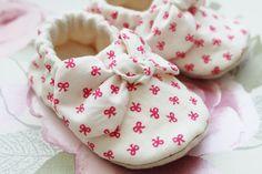 Pretty bow print cotton soft sole shoe by DottyRobin on Etsy