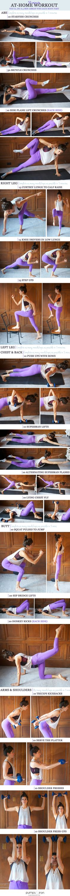 30-Minute At-Home Workout -- you'll spend 5 minutes on each body part At Home Workouts, Full Body Workout At Home, Body Workouts, Fun Workouts, Sport Motivation, Fitness Motivation, Pilates Workout Routine, 30 Min Workout, Workout Routines For Beginners
