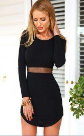 Black Long Sleeve Mesh Waist Curve Hem Bodycon Dress