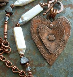 Pendant Heart Copper Metalwork with White Stick by lunedesigns, $95.00