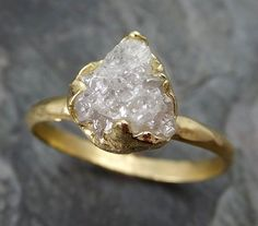 Raw Diamond Solitaire Engagement Ring 18k Rough Uncut gemstone gold Conflict Free Diamond Wedding Promise