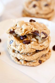 These cookies are my holy grail of desserts rolled in one. The flavor of banana bread, the chewy texture of oatmeal cookies, and the soft and gooey factor of chocolate chip cookies. They're soft, chewy, moist, and not at all cakey which can be a problem when baking with bananas. Cookies taste like little banana …
