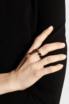 PAULA MENDOZA Adriane gold-plated onyx ring