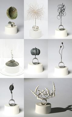CAROL KINGSBURY GWIZDAK Combining metal and porcelain with seeds, pods, moss and other botanicals, Carol Kingsbury Gwizdak highlights the preciousness of nature as opposed to material goods