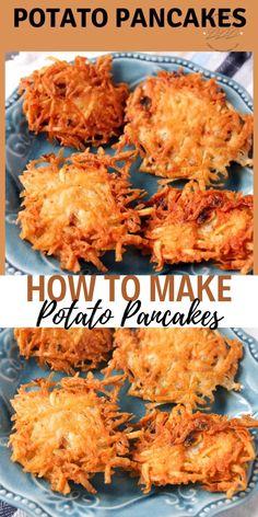 Grandmas Potato Pancakes without flour aka Potato Latkes is a recipe my grandma made during the great depression. It was one of my mom's best recipes. Cheap and easy. Potato Fritters, Potato Latkes, Polish Potato Pancakes, Easy Potato Pancakes, German Potato Pancakes, Comida Judaica, Vegetarian Recipes, Cooking Recipes, Curry Recipes
