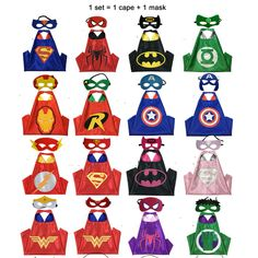 Superhero capes - 1 cape + 1 mask Double side Satin fabric Superhero capes for kids Party cosplay  suitable kids from 3-10 Years  Price £8.50 / set  Local Burgess Hill can come and collect or post
