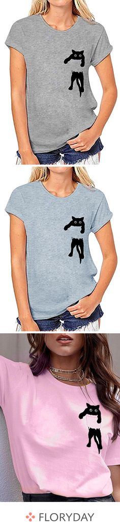 cat t-shirts for women Hand Embroidery Stitches, Hand Embroidery Designs, Sweater Shirt, V Neck T Shirt, Diy Fashion, Fashion Outfits, Painted Jeans, Sequin Party Dress, Recycle Jeans