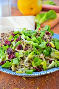 Cranberry Quinoa Salad with Dairy-Free Caesar Dressing #glutenfree