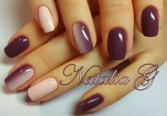 White and purple gel nails style - LadyStyle