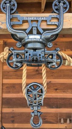 Discover thousands of images about Antique Myers Wood Beam Hay Trolley Pulley Cast Iron Farm Barn Tool Antique Tools, Old Tools, Vintage Tools, Industrial Furniture, Vintage Industrial, Farm Tools, Farm Barn, Wood Beams, Pulley