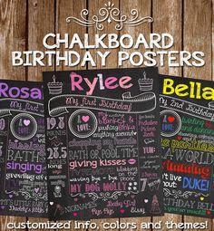 Chalkboard Birthday SIgn Customized Birthday Chalkboard Poster Sign Digital PRINTABLE Milestones Subway Art 16x20 First Birthday Decoration