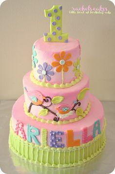 Bird Theme 1ST Birthday Cake www.facebook.com/the.rachels.cakes
