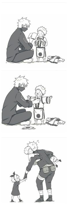 kakashi x little naruto, sasuke and sakura