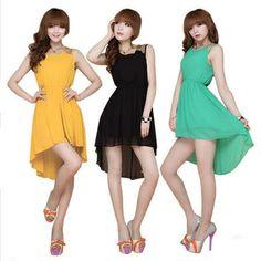 Sexy Sleeveless O-Neck Short Mini Asymmetrical Skirt Chiffon Lady Tank Dress Summer Women Hot Day Dress Lady One-piece Dresses $8.40