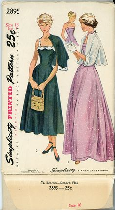 Evening Dress Pattern Simplicity 2895 Misses by TuffyGirlVintage, $48.00
