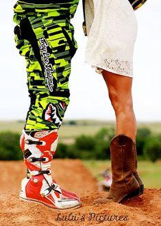"""Love my pictures by McKay McKay McKay McKay Chance motocross love! Motocross engagement"" so cuteee Motocross Wedding, Motocross Couple, Dirt Bike Wedding, Motocross Quotes, Motocross Girls, Engagement Couple, Engagement Pictures, Wedding Pictures, Wedding Ideas"